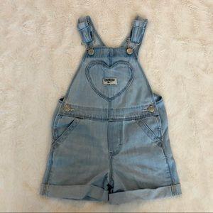 OshKosh overall heart denim shorts / shortalls 2T